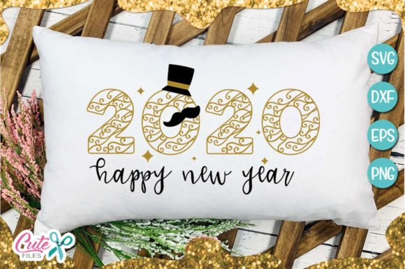 Download Free 2020 Happy New Year Graphic By Cute Files Creative Fabrica for Cricut Explore, Silhouette and other cutting machines.