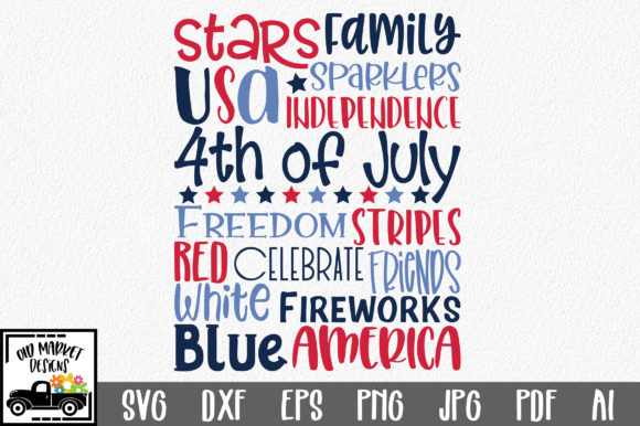 Print on Demand: 4th of July Subway Art Graphic Crafts By oldmarketdesigns