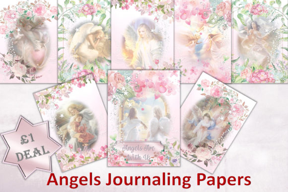 Print on Demand: Angels Background Journal Pages Graphic Backgrounds By The Paper Princess