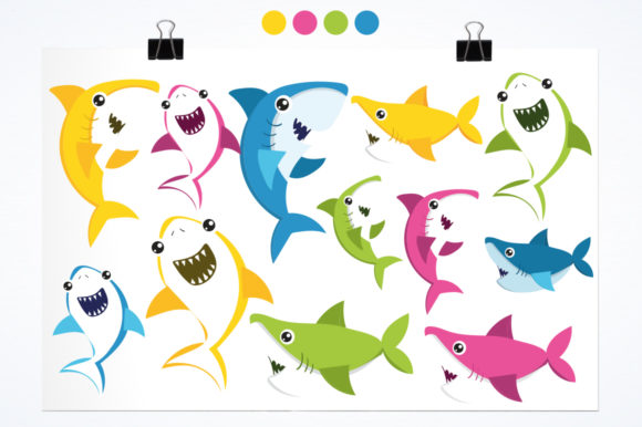 Print on Demand: Baby Sharks Graphic Illustrations By Prettygrafik - Image 2