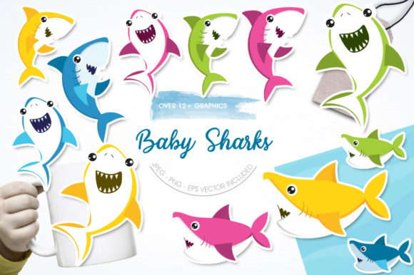 Print on Demand: Baby Sharks Graphic Illustrations By Prettygrafik