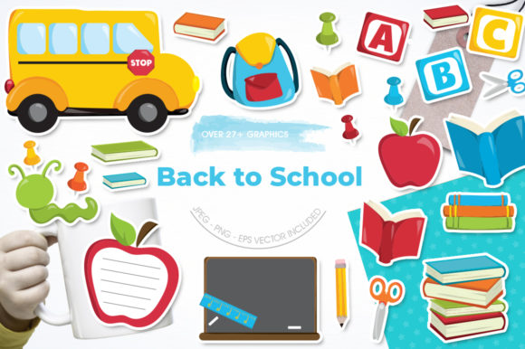 Print on Demand: Back to School Graphic Illustrations By Prettygrafik