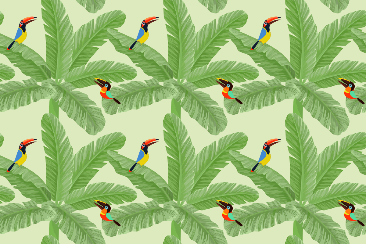 Download Free Banana Leaf With Toucan Bird Pattern Graphic By Ranger262 for Cricut Explore, Silhouette and other cutting machines.