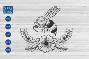 Bee with Floral Graphic By svgBank