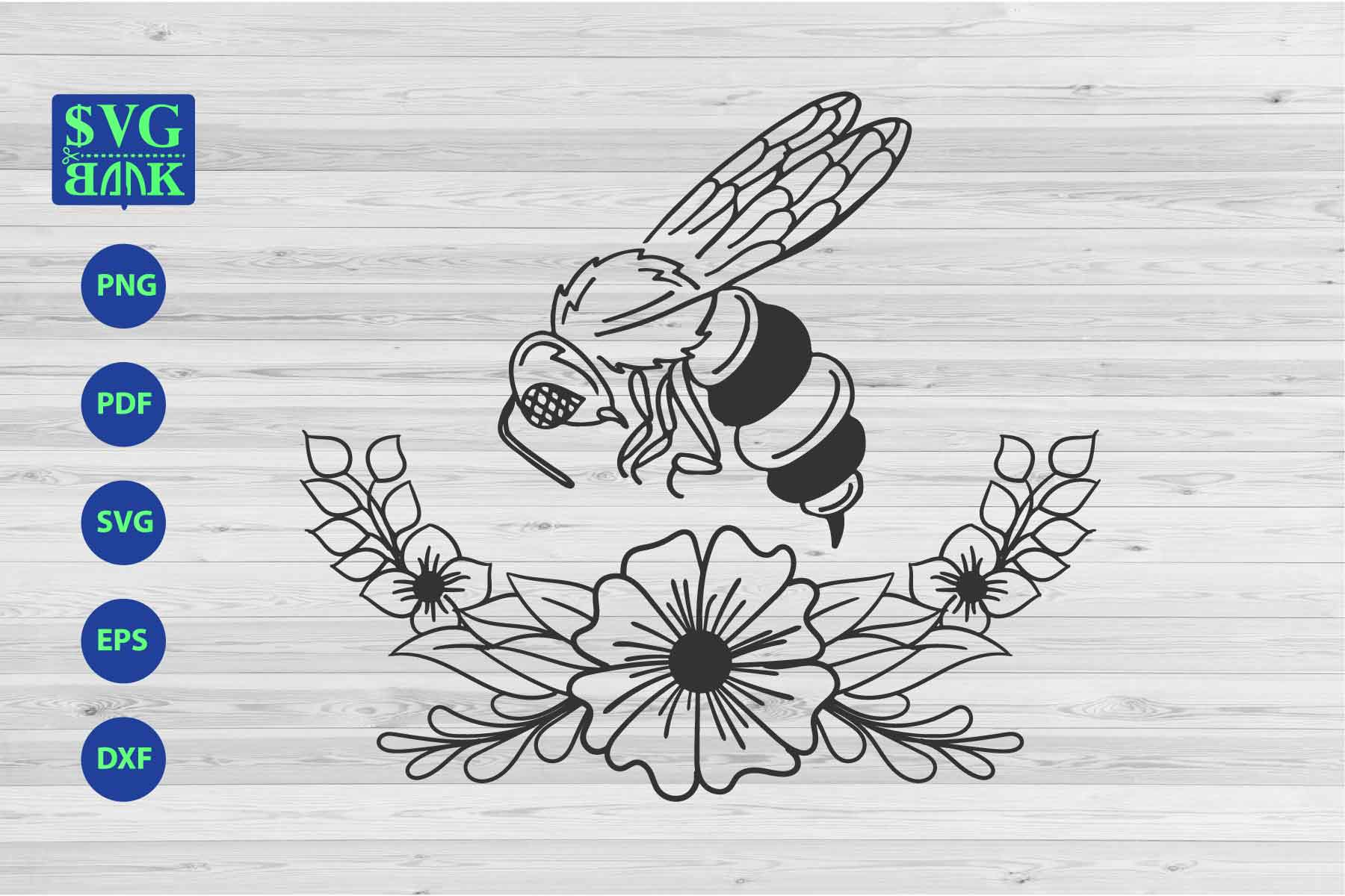 Download Free Bee With Floral Graphic By Svgbank Creative Fabrica for Cricut Explore, Silhouette and other cutting machines.