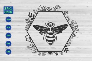 Bee with Hexagonal Frame Graphic By svgBank