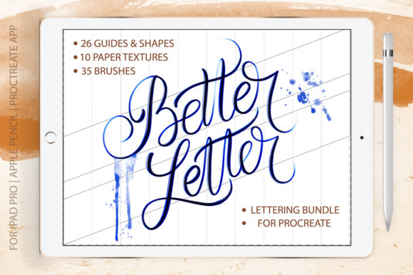 Print on Demand: Better Letter Procreate Brush Bundle Gráfico Pinceles Por Red Ink