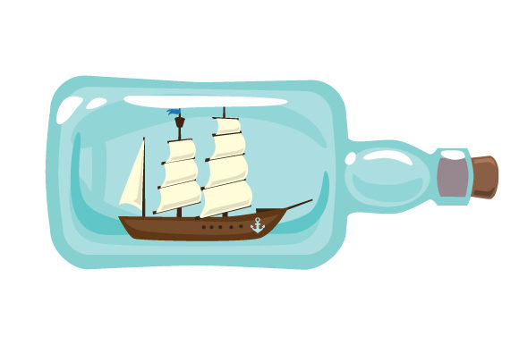 Boat with Sails Inside Glass Bottle Nautical Craft Cut File By Creative Fabrica Crafts - Image 1