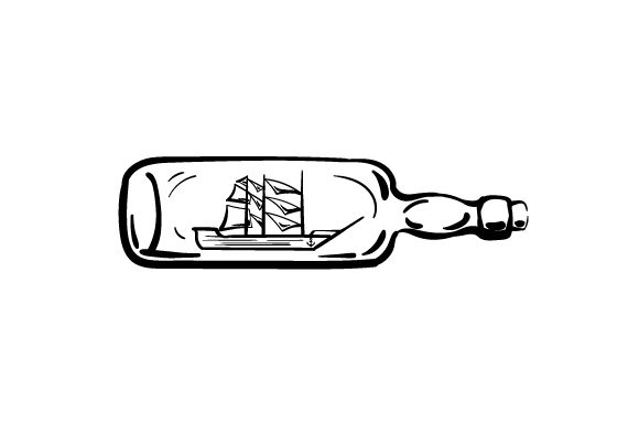 Boat with Sails Inside Glass Bottle in Line Art Style Nautical Craft Cut File By Creative Fabrica Crafts