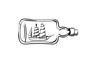 Boat with Sails Inside Glass Bottle in Line Art Style Craft Design By Creative Fabrica Crafts