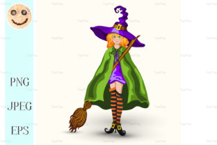 Cartoon Witch in Purple Hat Graphic By TasiPas
