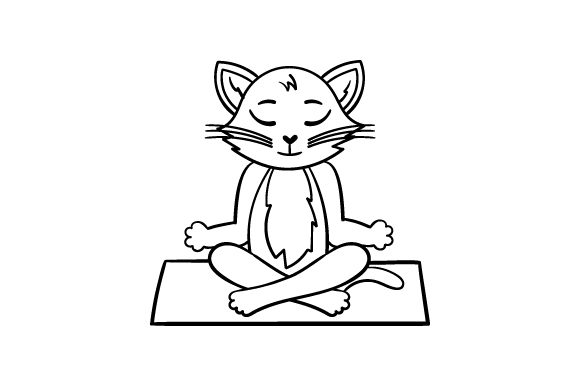 Cat Doing Yoga (line Art Style) Cats Craft Cut File By Creative Fabrica Crafts