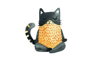 Cat Doing Yoga Pose - Watercolor Craft Design By Creative Fabrica Crafts