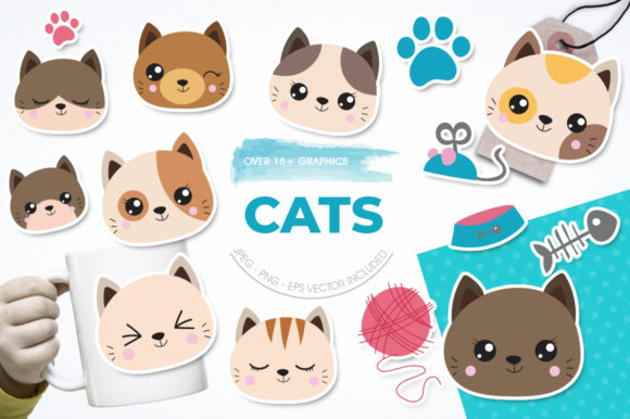 Print on Demand: Cats Graphic Illustrations By Prettygrafik
