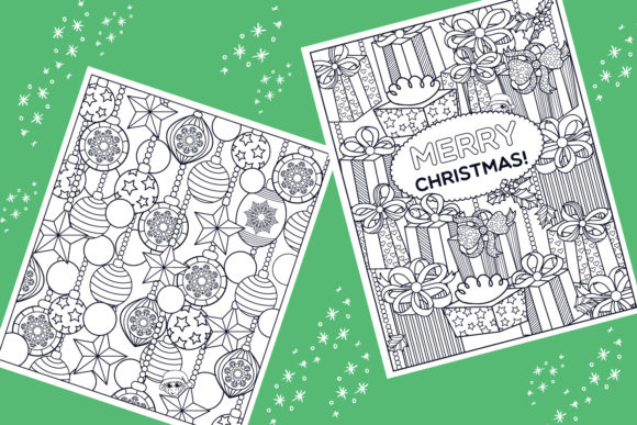 Print on Demand: Christmas Coloring Pages 9 Vector Items Graphic Illustrations By tatiana.cociorva - Image 2