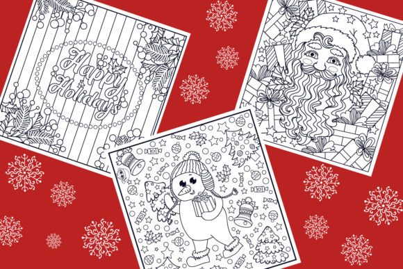 Print on Demand: Christmas Coloring Pages 9 Vector Items Graphic Illustrations By tatiana.cociorva - Image 3