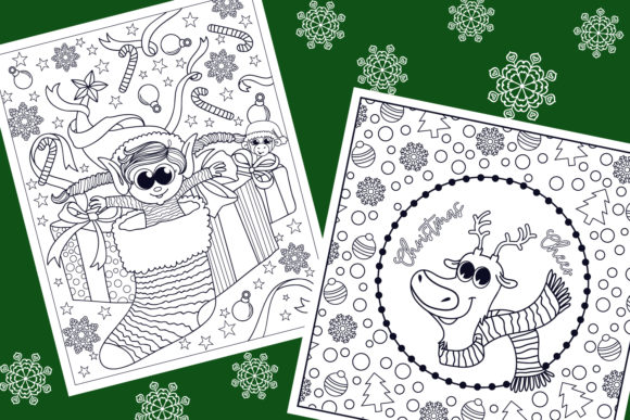 Print on Demand: Christmas Coloring Pages 9 Vector Items Graphic Illustrations By tatiana.cociorva - Image 5