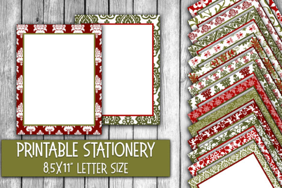 Christmas Damask Digital Stationery Graphic Crafts By oldmarketdesigns