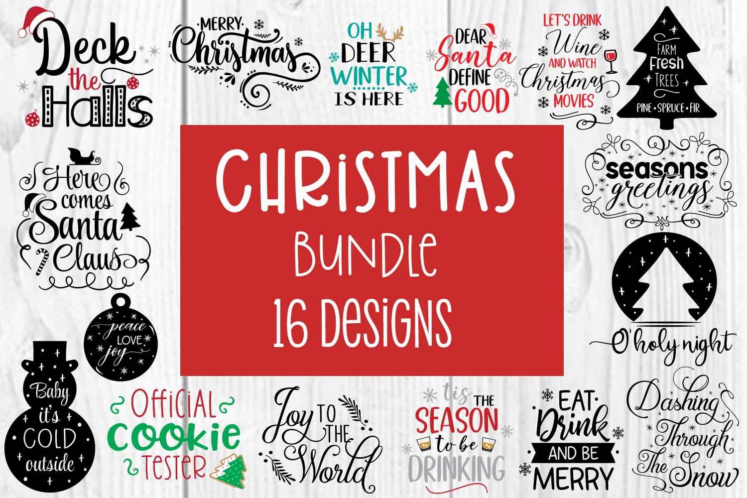 Download Free Christmas Holiday Bundle Graphic By Jessica Maike Creative Fabrica for Cricut Explore, Silhouette and other cutting machines.
