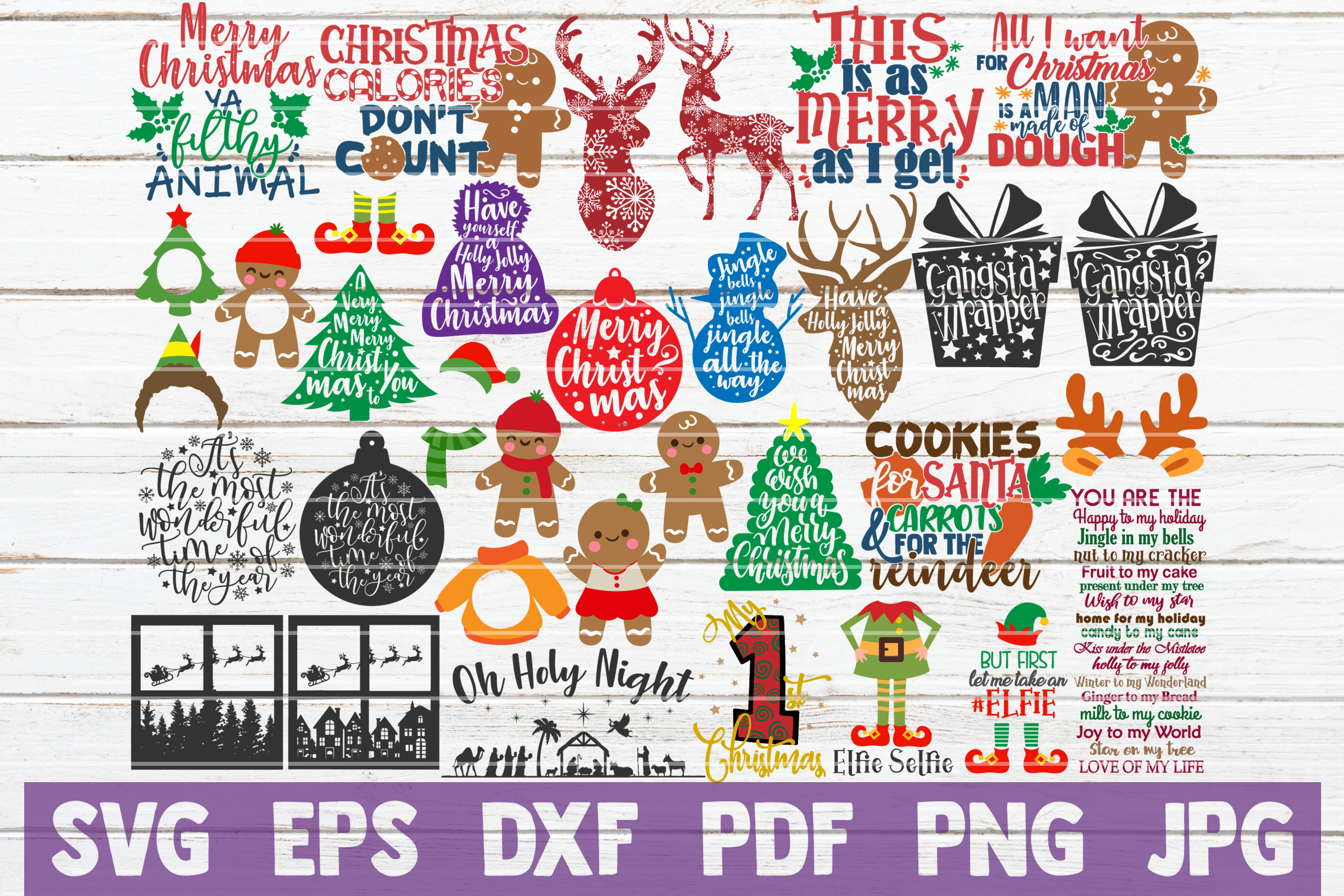 Download Free Christmas Bundle Graphic By Mintymarshmallows Creative Fabrica for Cricut Explore, Silhouette and other cutting machines.