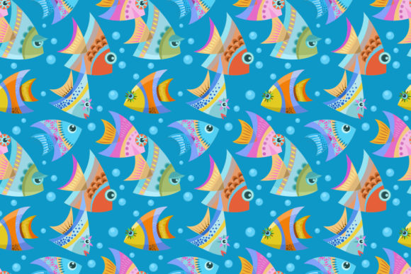 Download Free Colorful Design Fish Seamless Pattern Graphic By Ranger262 for Cricut Explore, Silhouette and other cutting machines.