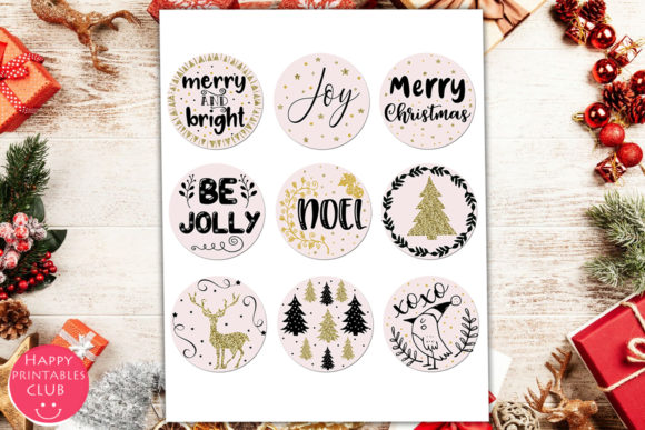 Cute Christmas Pictures.Cute Christmas Round Stickers Holiday