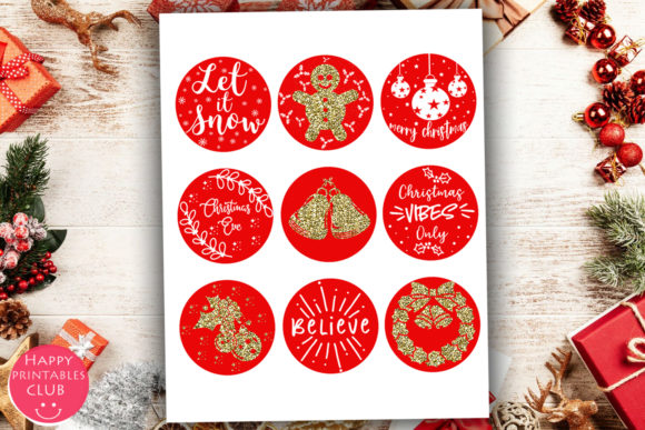 Download Free Cute Christmas Round Stickers Holiday Graphic By Happy for Cricut Explore, Silhouette and other cutting machines.