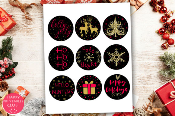 Print on Demand: Cute Christmas Round Stickers Holiday Graphic Illustrations By Happy Printables Club - Image 4