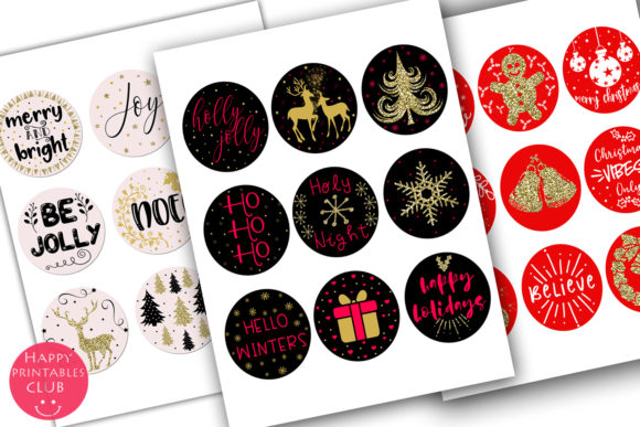 Print on Demand: Cute Christmas Round Stickers Holiday Graphic Illustrations By Happy Printables Club - Image 5