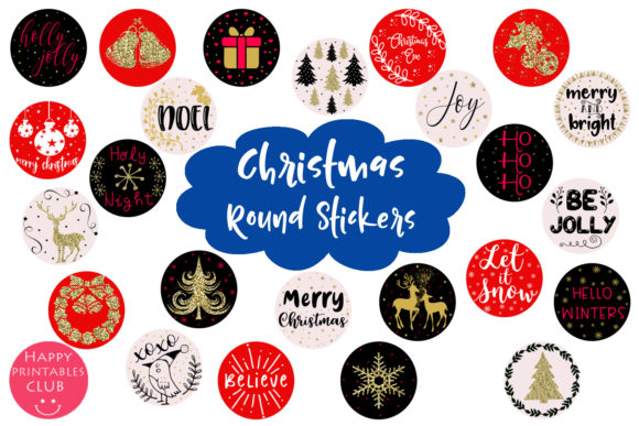 Print on Demand: Niedliche runde Weihnachtssticker Grafik Illustrationen von Happy Printables Club