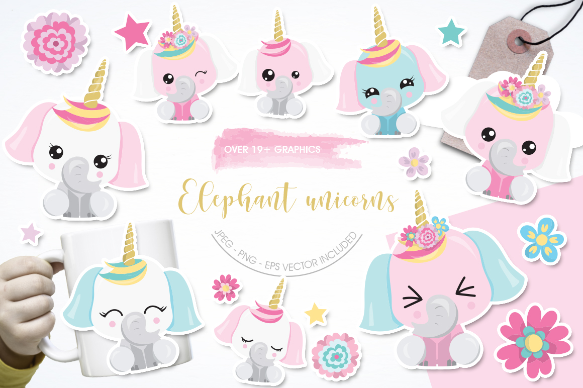 Download Free Elephant Unicorns Graphic By Prettygrafik Creative Fabrica for Cricut Explore, Silhouette and other cutting machines.