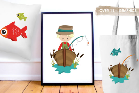 Print on Demand: Fishing Boys Graphic Illustrations By Prettygrafik - Image 5