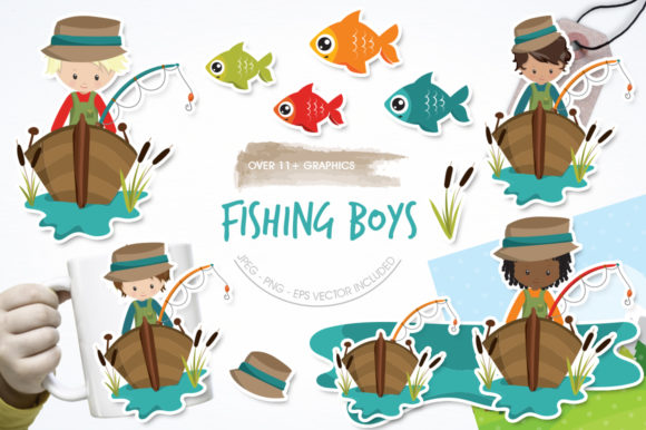 Print on Demand: Fishing Boys Graphic Illustrations By Prettygrafik