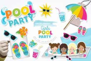 Print on Demand: Girls Pool Party Graphic Illustrations By Prettygrafik