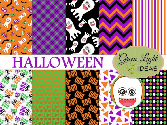 Halloween Ghosts Digital Scrapbook Paper Graphic Backgrounds By GreenLightIdeas - Image 1