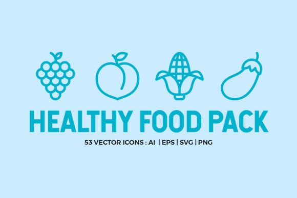 Healthy Food Line Icons Graphic Icons By abstractocreate
