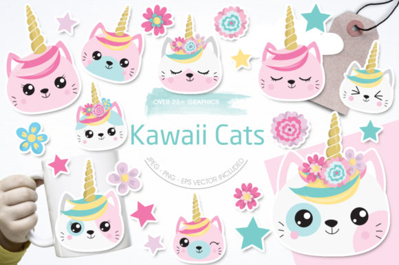 Kawaii Cats Graphic By Prettygrafik Image 1