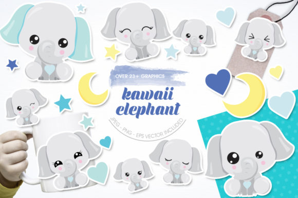 Download Free Kawaii Elephant Graphic By Prettygrafik Creative Fabrica for Cricut Explore, Silhouette and other cutting machines.