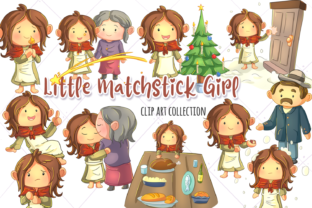 Download Free Little Matchstick Girl Clip Art Graphic By Keepinitkawaiidesign for Cricut Explore, Silhouette and other cutting machines.