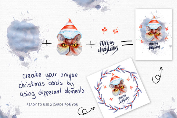 Download Free Meowy Christmas Watercolor Collection Graphic By Tanatadesign for Cricut Explore, Silhouette and other cutting machines.