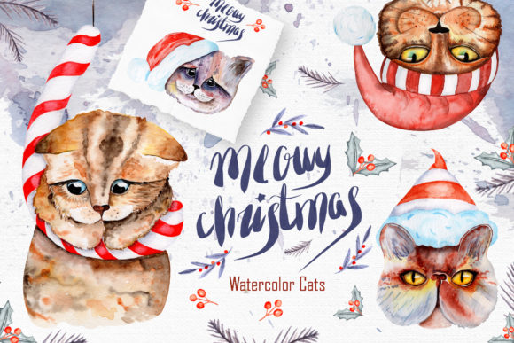 Print on Demand: Meowy Christmas Watercolor Collection Graphic Illustrations By tanatadesign
