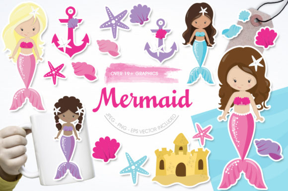 Print on Demand: Mermaid Graphic Illustrations By Prettygrafik