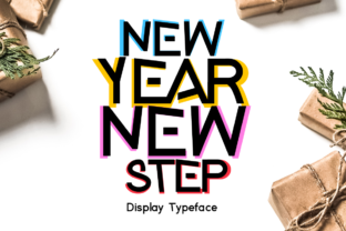 Download Free New Year New Step Font By Shattered Notion Creative Fabrica for Cricut Explore, Silhouette and other cutting machines.
