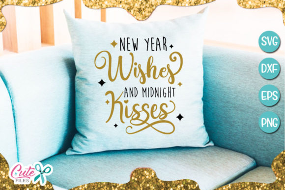 New Year Wishes And Midnight Kisses Graphic By Cute Files