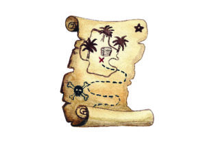 Pirate Treasure Map - Watercolor Style Craft Design By Creative Fabrica Crafts