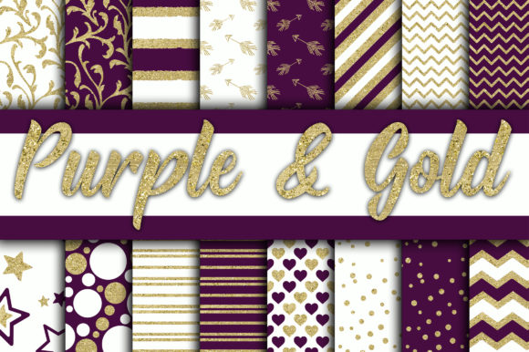 Print on Demand: Purple and Gold Glitter Digital Paper Graphic Backgrounds By oldmarketdesigns