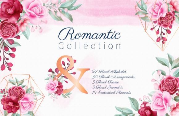 Print on Demand: Romantic Watercolor Flowers Collection Graphic Illustrations By KeepMakingArt