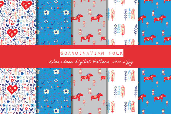 Download Free Scandinavian Folk Digital Paper Graphic By Bruxamagicadesigns for Cricut Explore, Silhouette and other cutting machines.