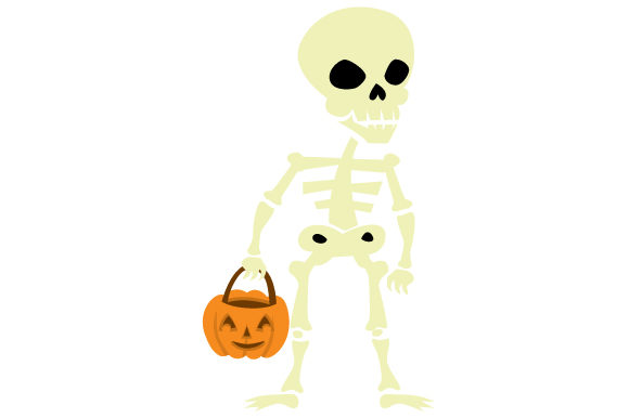Download Free Skeleton Holding Jack O Lantern Basket Svg Cut File By Creative SVG Cut Files