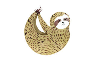 Sloth Doing Yoga Pose - Watercolor Style Craft Design By Creative Fabrica Crafts